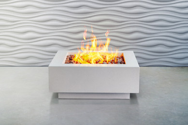 Concrete waves wall and fire pit