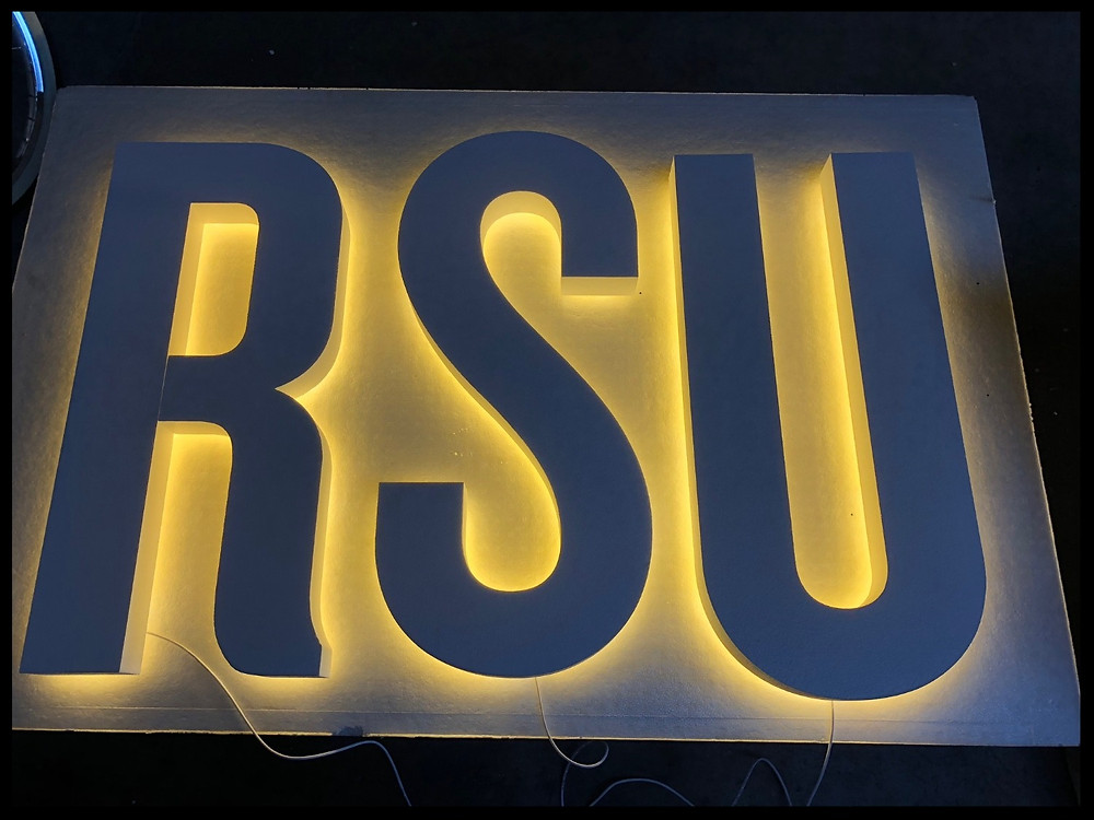 Illuminated LED foam letters with halo effect