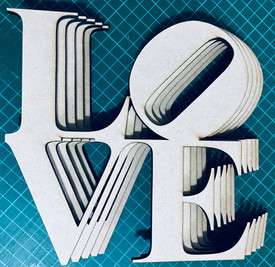 MDF laser cut LOVE sign letters