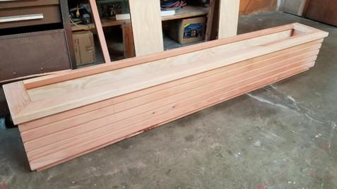 Custom long wooden planter