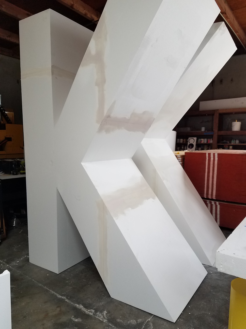 Oversized foam letter made in 2 sections