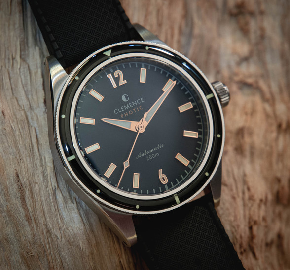 Photic Diver with Abyss Black dial and bronze gilt hands