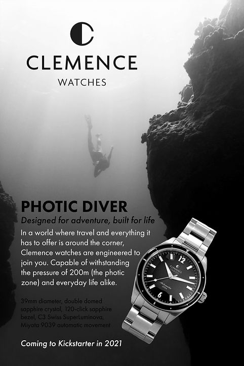 Clemence photic diver watch, clemence watches, clemence photic, photic diver, british watch micro brand, kickstarter watch 2021, kickstarter watch