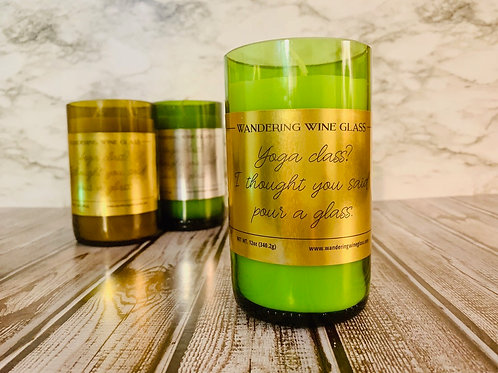 'Yoga Class' Wine Bottle Candle