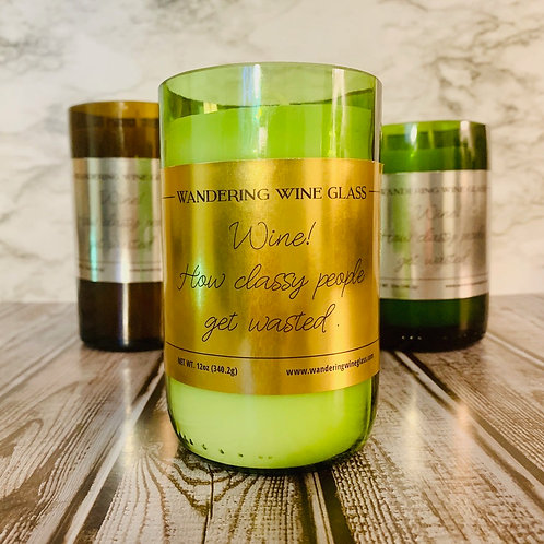 'Classy People' Wine Bottle Candle