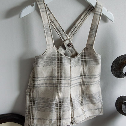 Linen grey and natural suspender shorts