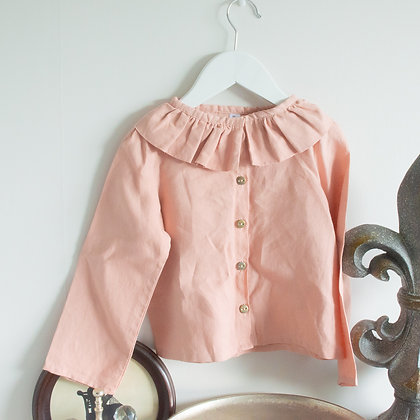 Dusky Pink linen ruffle neck shirt Size 3
