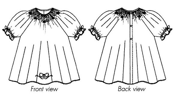 Bishop gown KIT for smocking in cotton voile