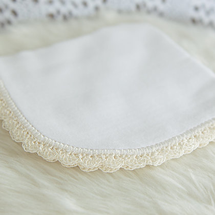 Crochet edged muslin wraps and wipes