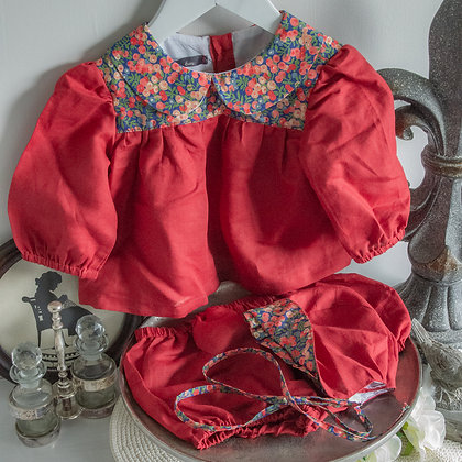 Red linen set with liberty trim 6m