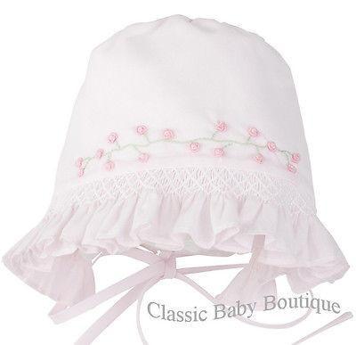 Circle back bonnet with smocked front fr