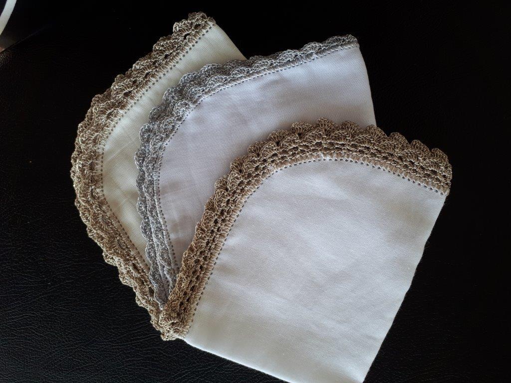 Small crocheted edged muslins.jpg