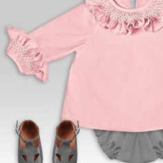 Smocked ruffle shirt