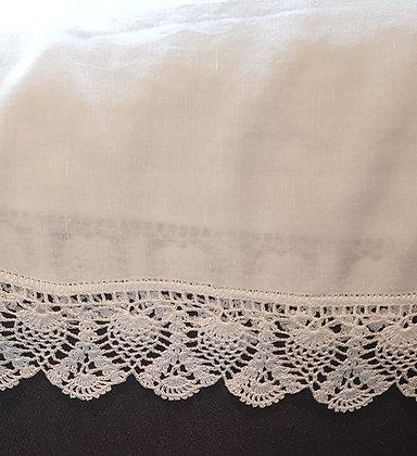 White Cotton Linen Hemstitched Shawl