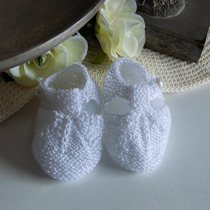White knitted booties NB-3m