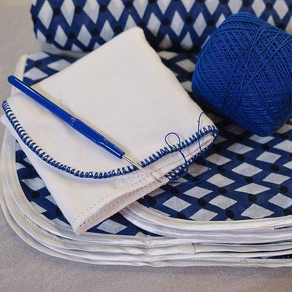 Printed muslin set – Lattice Blue & White