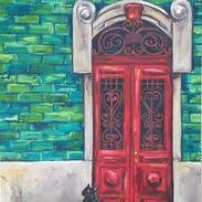 """""""Red Porto Door with Black Cat"""""""