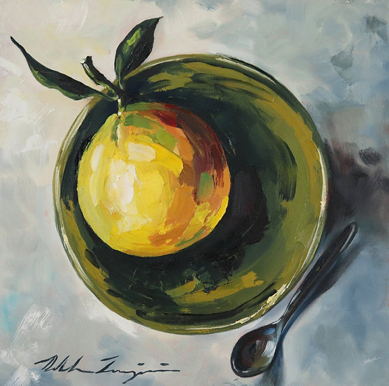 """Orange in Green Bowl"""