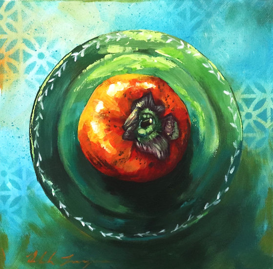 """Persimmon on Green Plate"""