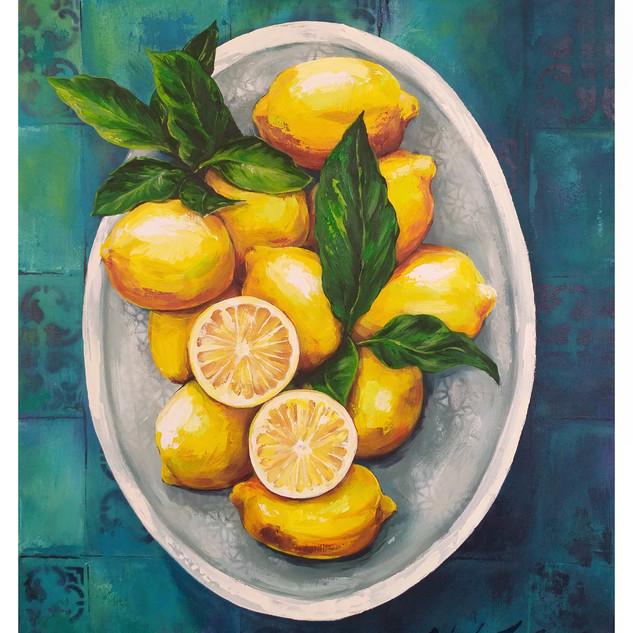 """""""Lemons in White Ceramic"""""""