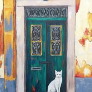"""""""Porto Door with White Cat"""""""