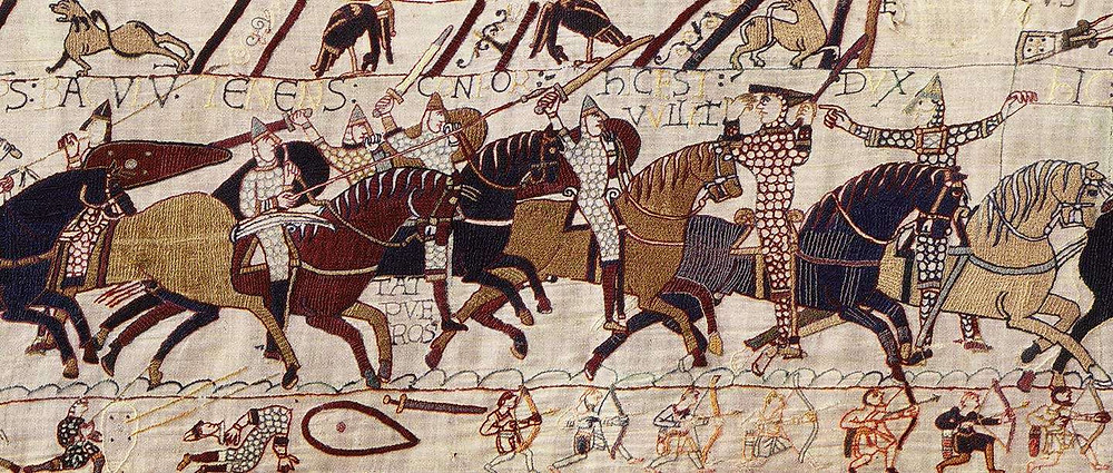 Bayeux Tapestry showing details about Viking riding style