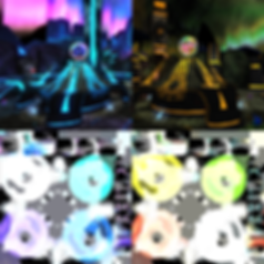 Light maps for the blue and yellow modes