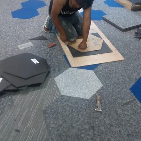 Alfombra modular hexagonal