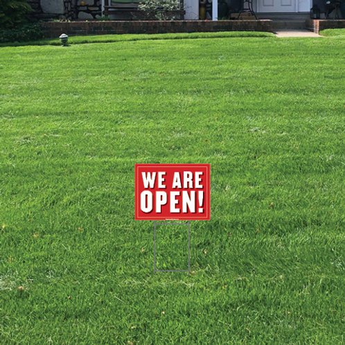 We Are Open Lawn Signs: 24 in w x 18 in h