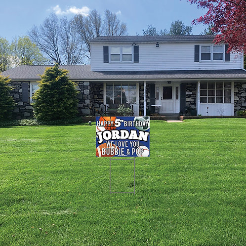 Sporty Birthday Lawn Signs: 24 in w x 18 in h (Personalized)