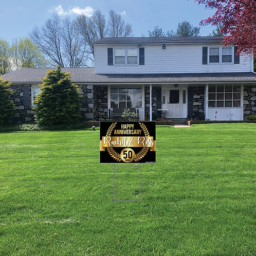 Anniversary Lawn Signs: 24 in w x 18 in h (Personalized)