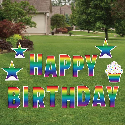 Happy Birthday Cut-out Letter Lawn Signs (For Rent)