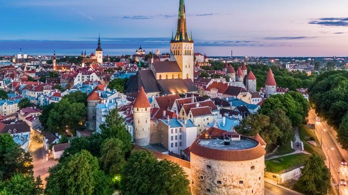 An aerial view of Tallinn Castle