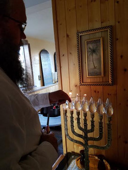 Lighting menorah