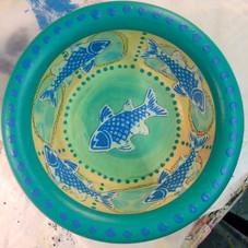 Medium Blue Fish Wooden Bowl