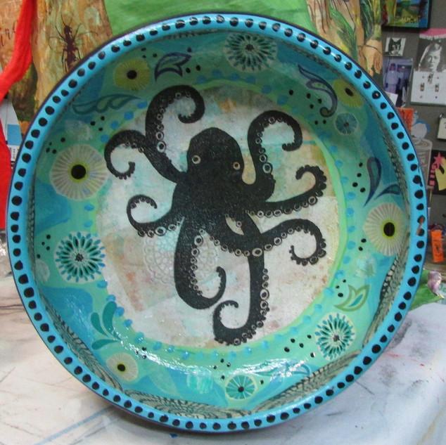Octopus2 Wooden Bowl