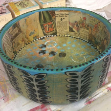 straight side bowl/vintage newspaper and