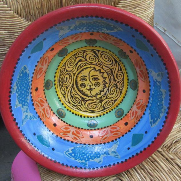 Sun/Moon Large Wooden Bowl