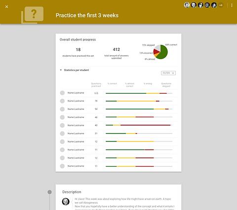Practice question analytics per student
