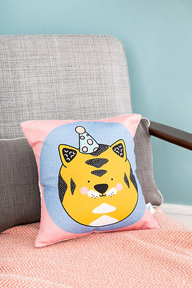 Pink tiger cushion for babies nursery