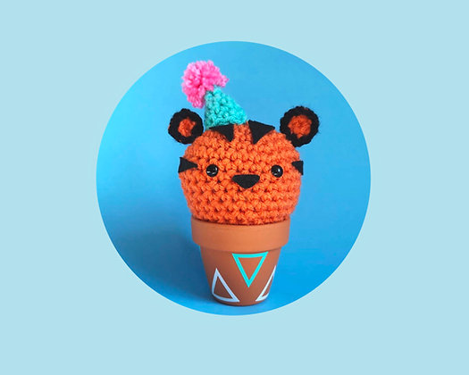 Crochet tiger in a pot. Tiger ornament, desk buddy