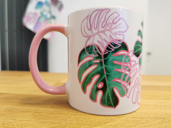 Pink and green leaf mug