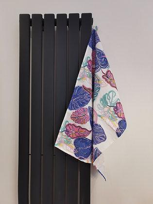 Leaf tea towel hung up