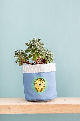 Fabric lion plant pot cover