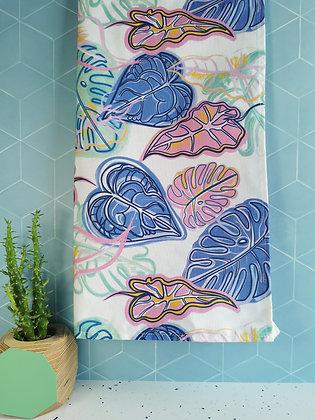 Monstera botanical dish towel, leaf tea towel
