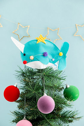 Narwhal Christmas tree topper