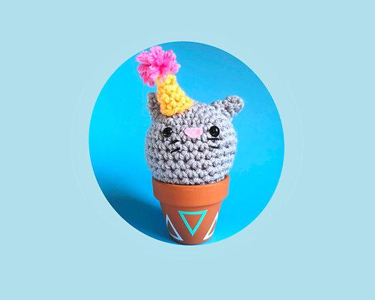 Crochet cat in a pot