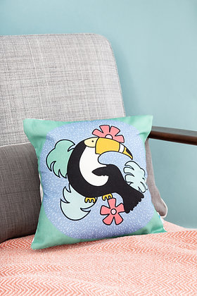Toucan cushion for colourful kids room