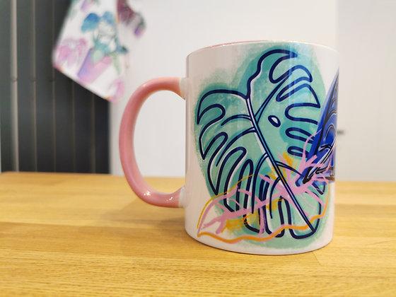 Turquoise monstera leaf mug