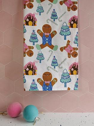 Gingerbread man, festive Christmas tea towel
